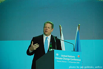 Al Gore addresses delegates on the urgency of the climate crisis and the need for action