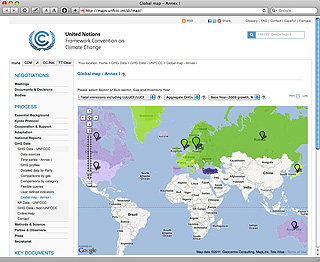 UNFCCC Greenhouse gas data on Google maps