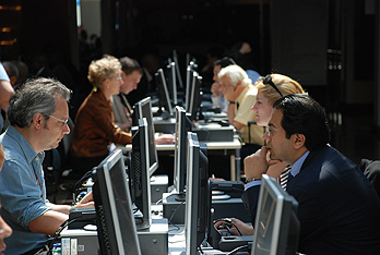 Delegates at the bustling computer centre