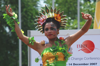 Balinese dancers perform outside the Bali International Convention Centre