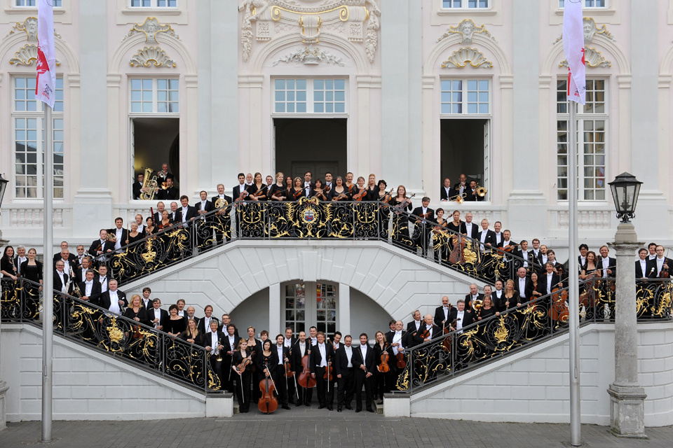 Bonn's Beethoven orchestra in front of the city's old town hall.