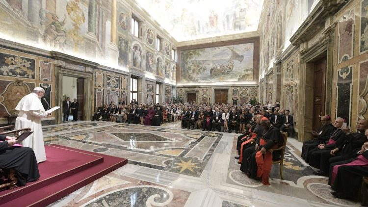Pope Francis addresses participants at the International Conference on the Third Anniversary of Laudato si'