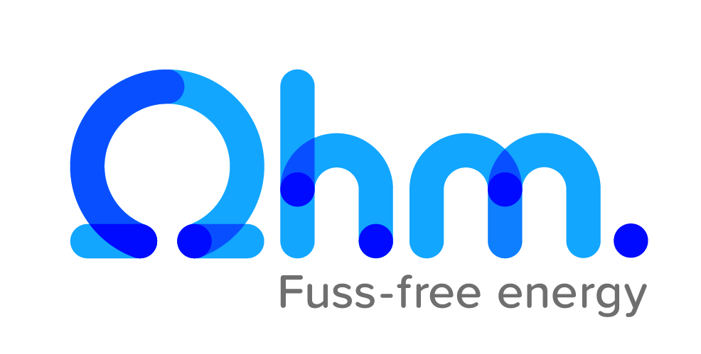 This is a logo of the company Ohm. Fuss-free energy