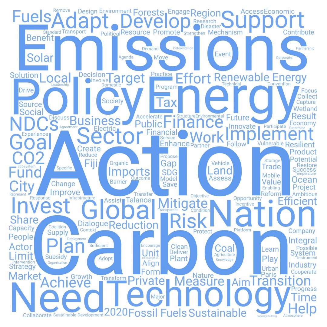 UNFCCC Talanoa Dialogue Word Cloud for how do we get there?
