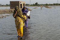 Women walking through flooded land in Pakistan