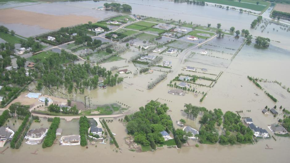 aerial view of a big flood