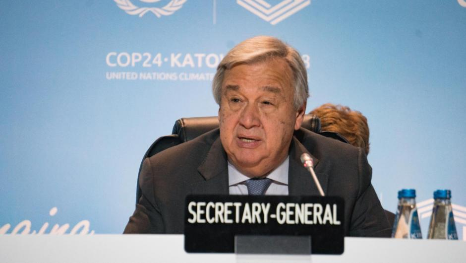 UN Secretary-General António Guterres speaks at the Talanoa Dialogue closing at COP24