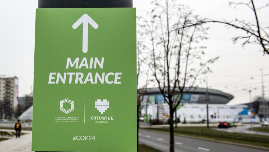 Entrance sign at COP24