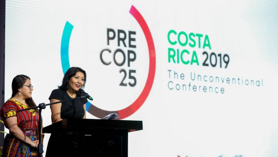 Representatives from indigenous people speak at PreCOP25 in Costa Rica